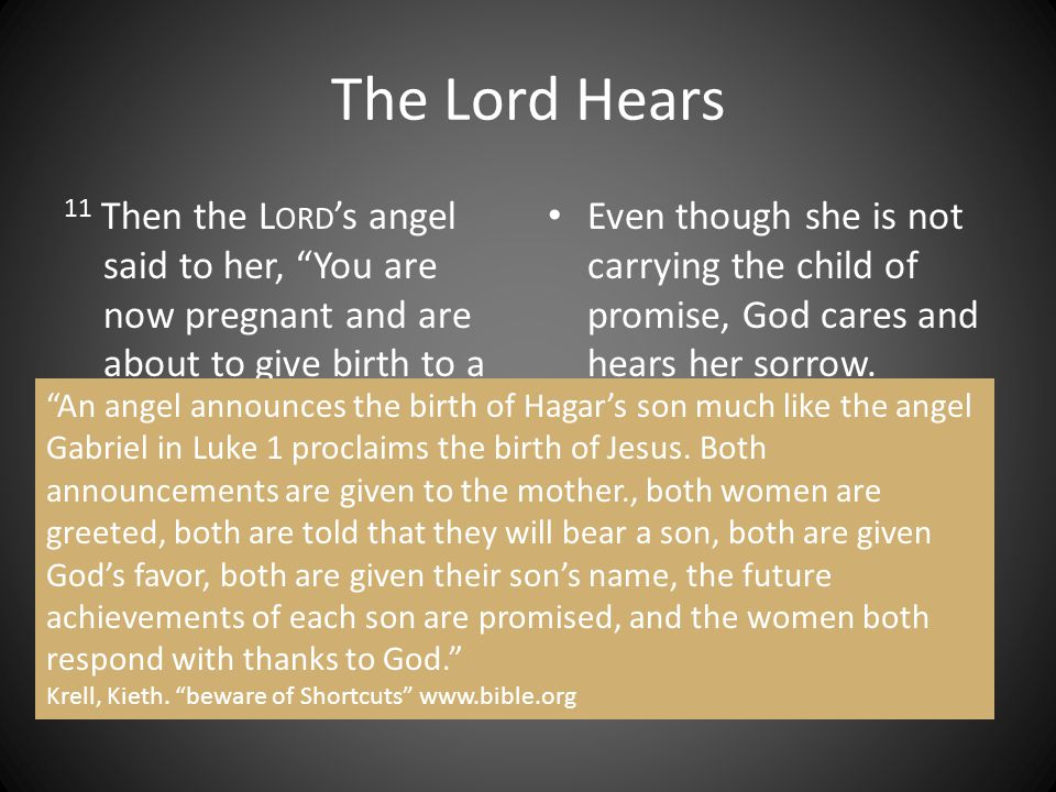 "The Lord Hears 11 Then the L ORD 's angel said to her, ""You are now pregnant and are about to give birth to a son. You are to name him Ishmael, for th"