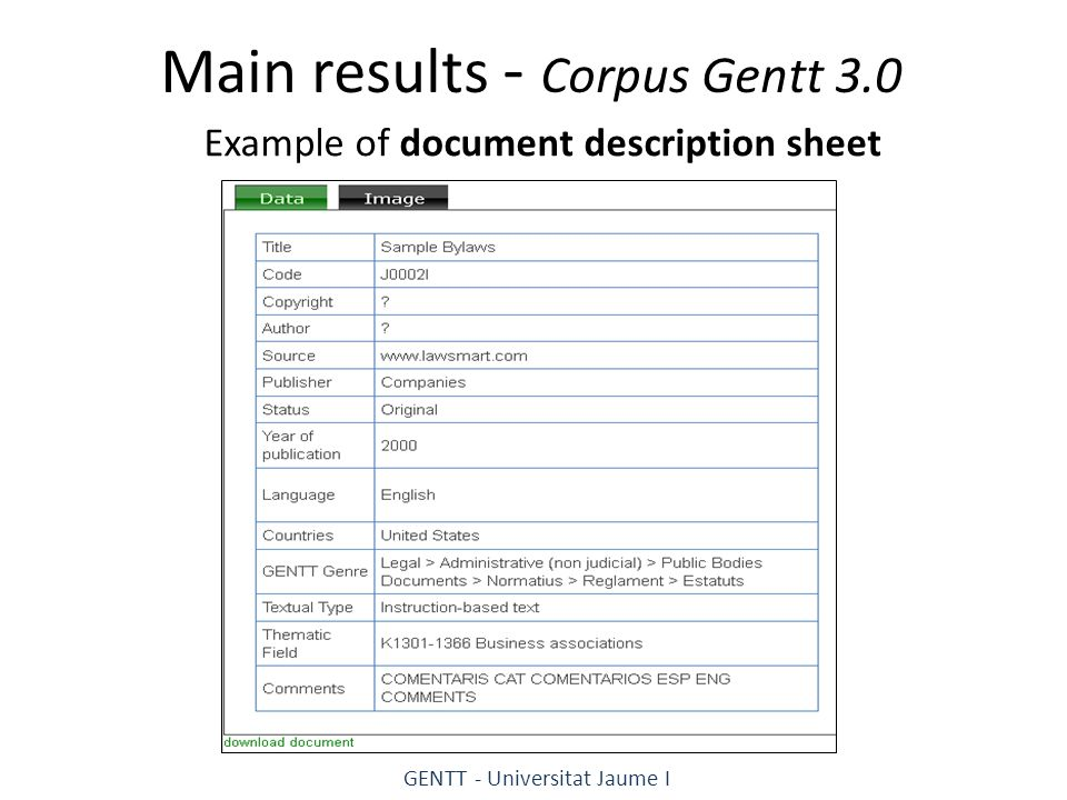 Main results - Corpus Gentt 3.0 Example of document description sheet GENTT - Universitat Jaume I