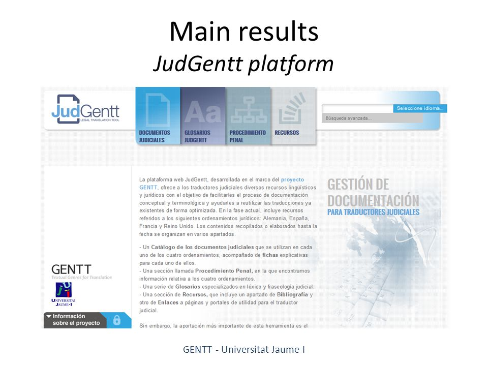 Main results JudGentt platform GENTT - Universitat Jaume I