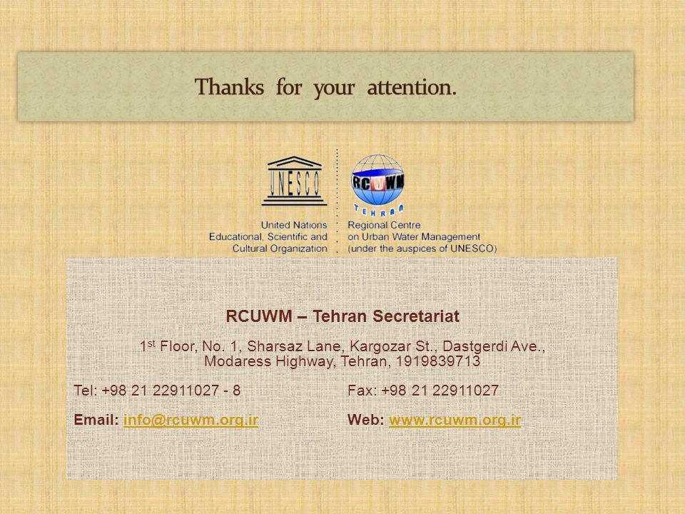 RCUWM – Tehran Secretariat 1 st Floor, No.