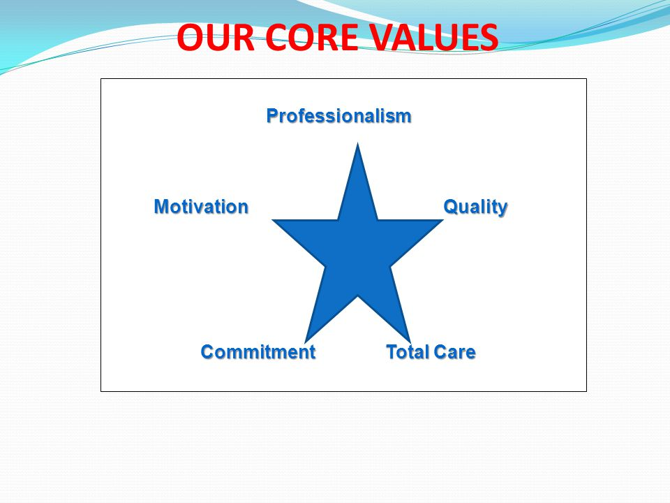 OUR CORE VALUES Professionalism Professionalism Motivation Quality Commitment Total Care