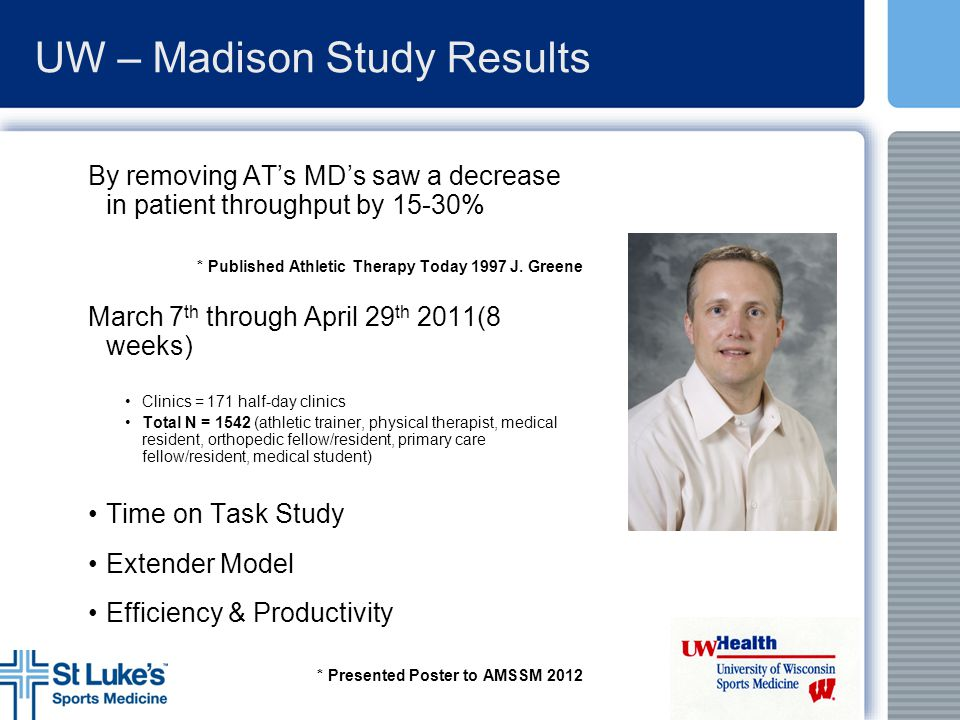 UW – Madison Study Results By removing AT's MD's saw a decrease in patient throughput by 15-30% * Published Athletic Therapy Today 1997 J. Greene Marc