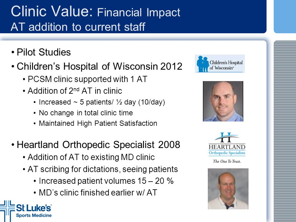 Clinic Value: Financial Impact AT addition to current staff Pilot Studies Children's Hospital of Wisconsin 2012 PCSM clinic supported with 1 AT Additi