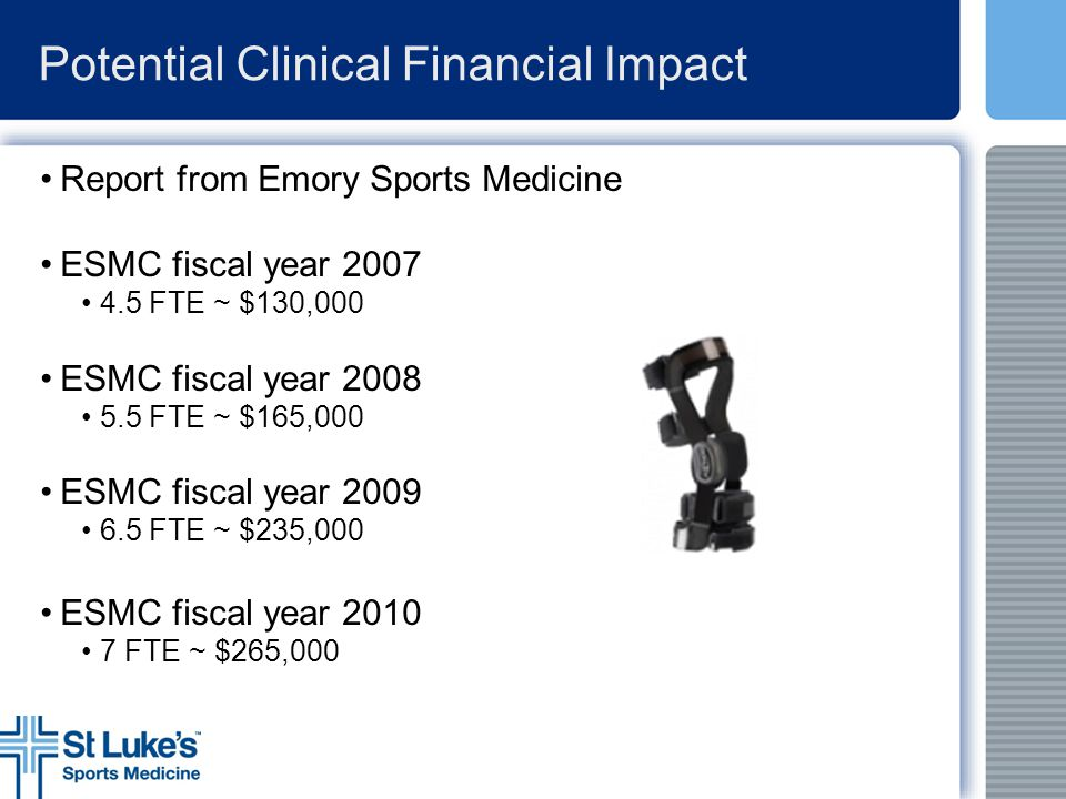 Potential Clinical Financial Impact Report from Emory Sports Medicine ESMC fiscal year 2007 4.5 FTE ~ $130,000 ESMC fiscal year 2008 5.5 FTE ~ $165,00
