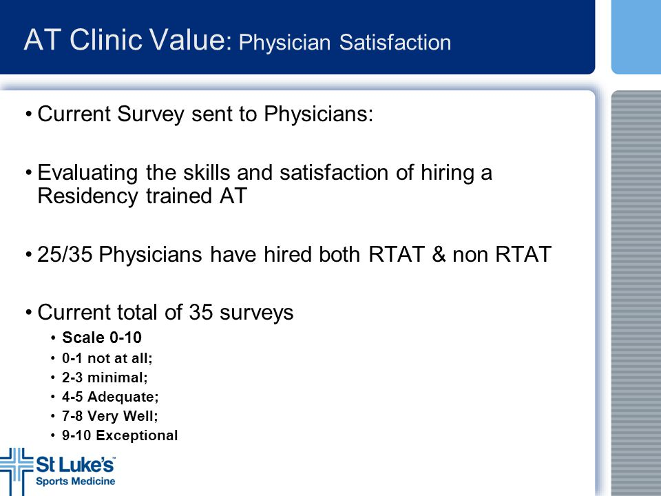 AT Clinic Value : Physician Satisfaction Current Survey sent to Physicians: Evaluating the skills and satisfaction of hiring a Residency trained AT 25