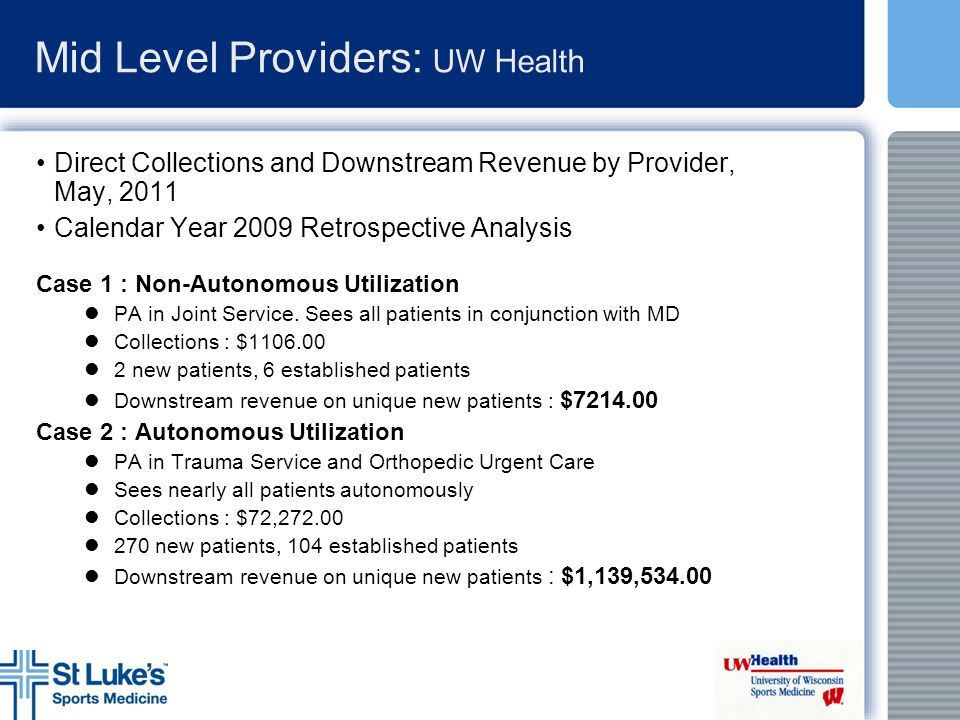 Mid Level Providers: UW Health Direct Collections and Downstream Revenue by Provider, May, 2011 Calendar Year 2009 Retrospective Analysis Case 1 : Non