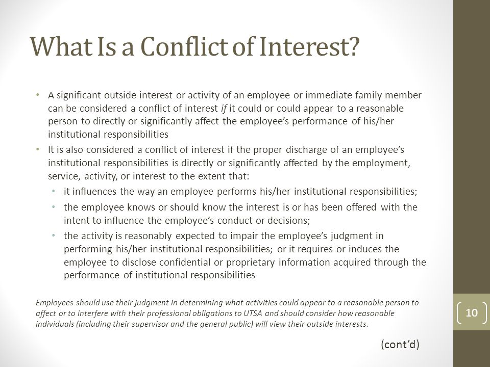 What Is a Conflict of Interest.