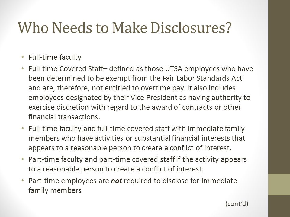 Who Needs to Make Disclosures.
