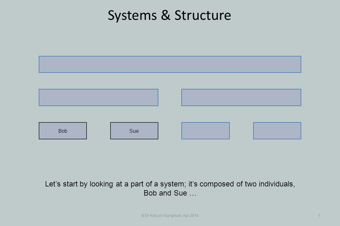 © Dr Kelvyn Youngman, Apr 20141 Systems & Structure Let's start by looking at a part of a system; it's composed of two individuals, Bob and Sue … SueBob
