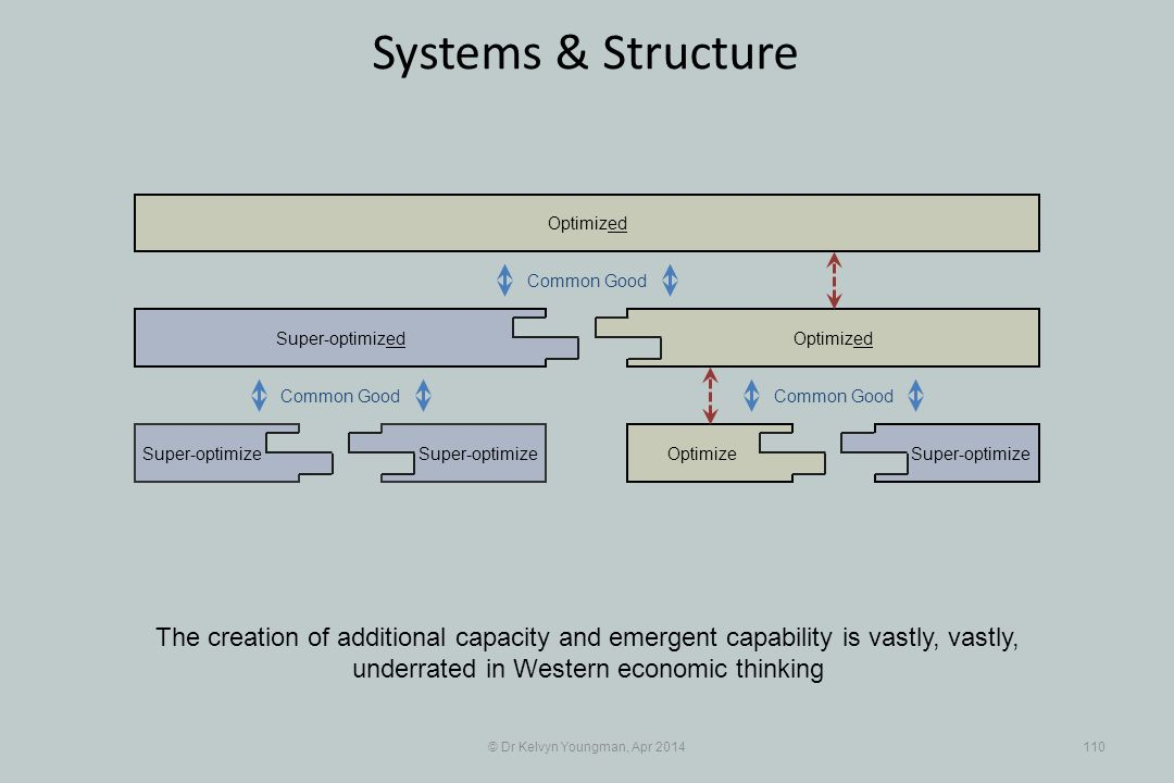 © Dr Kelvyn Youngman, Apr 2014110 Systems & Structure Super-optimize Super-optimized OptimizeSuper-optimize Optimized Common Good The creation of additional capacity and emergent capability is vastly, vastly, underrated in Western economic thinking