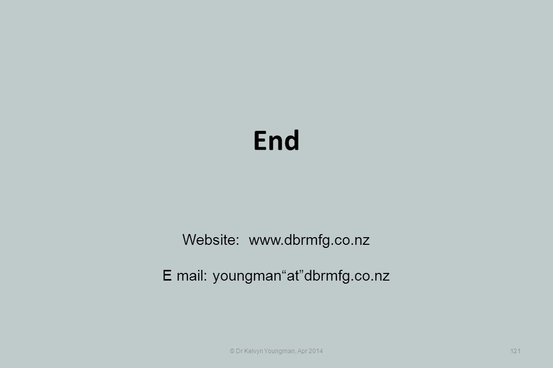 © Dr Kelvyn Youngman, Apr 2014121 End Website: www.dbrmfg.co.nz E mail: youngman at dbrmfg.co.nz