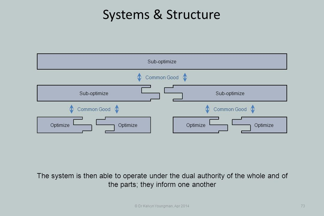 © Dr Kelvyn Youngman, Apr 201473 Systems & Structure Optimize Sub-optimize Optimize Sub-optimize The system is then able to operate under the dual authority of the whole and of the parts; they inform one another Common Good