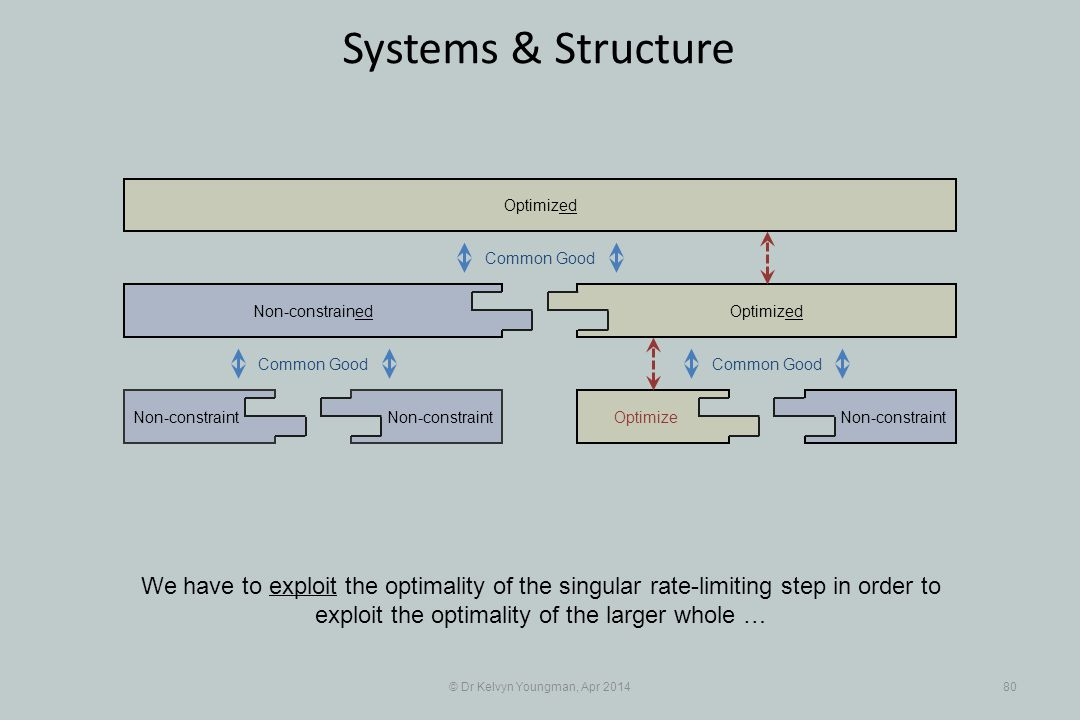 © Dr Kelvyn Youngman, Apr 201480 Systems & Structure We have to exploit the optimality of the singular rate-limiting step in order to exploit the optimality of the larger whole … Non-constraint Non-constrained OptimizeNon-constraint Optimized Common Good