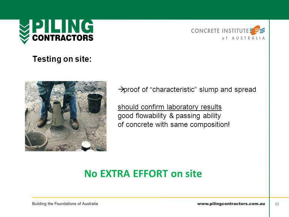 "32 Testing on site: wet  proof of ""characteristic"" slump and spread should confirm laboratory results good flowability & passing ability of concrete"