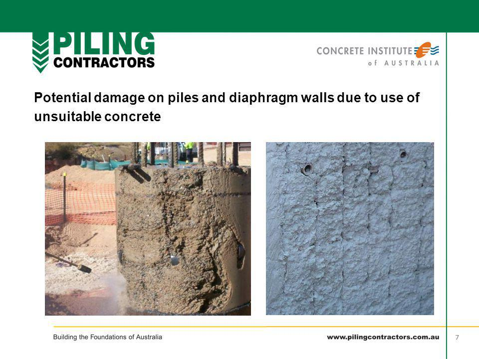 38 Potential Issues Inclusions - Insufficient flowability, placement techniques or cleaning of pile base How to avoid it: - Ensure pile base is free of drill sludge - Ensure sufficient concrete flowability (L-box & slump flow) - Ensure tremie pipe remains 3m inside the concrete throughout pour