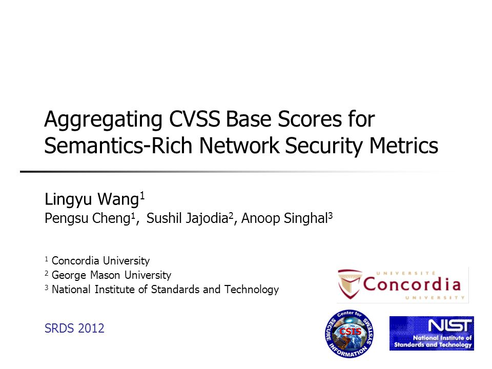 Outline  Introduction  Related Work  Base Metric-Level Aggregation  Three Aspects of CVSS Scores  Simulation  Conclusion 2