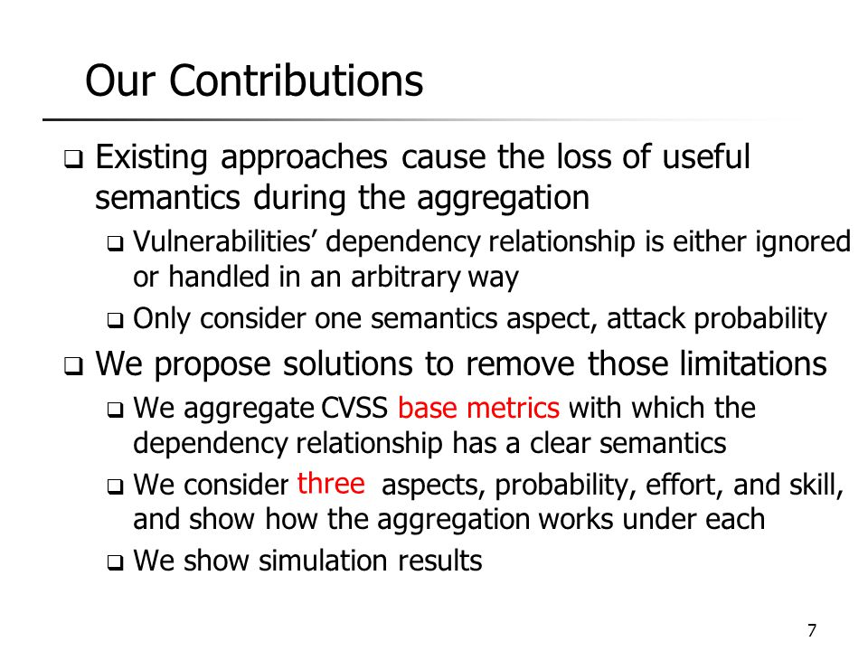 Outline  Introduction  Related Work  Base Metric-Level Aggregation  Three Aspects of CVSS Scores  Simulation  Conclusion 8
