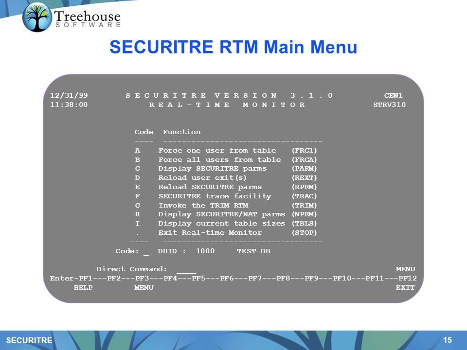 15 SECURITRE SECURITRE RTM Main Menu 12/31/99 S E C U R I T R E V E R S I O N 3.