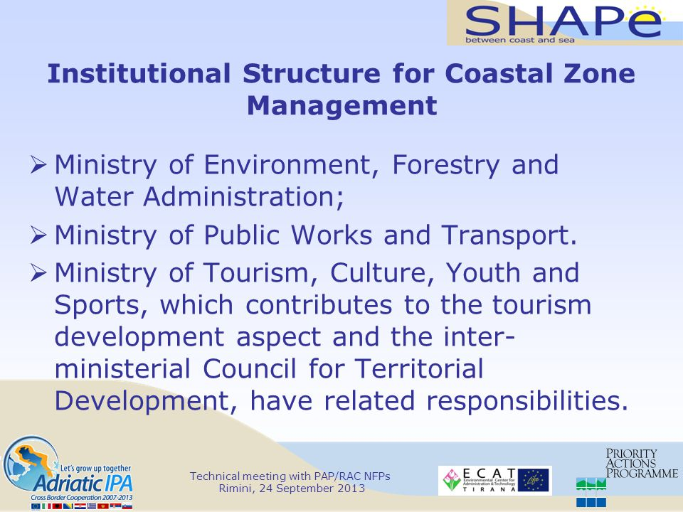 Institutional Structure for Coastal Zone Management  Ministry of Environment, Forestry and Water Administration;  Ministry of Public Works and Transport.
