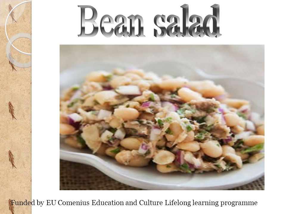 Bean salad is a popular salad of Bulgarian cuisine made from cooked beans, onions, carrots, savory, which can be eaten as aside dish to main dish.