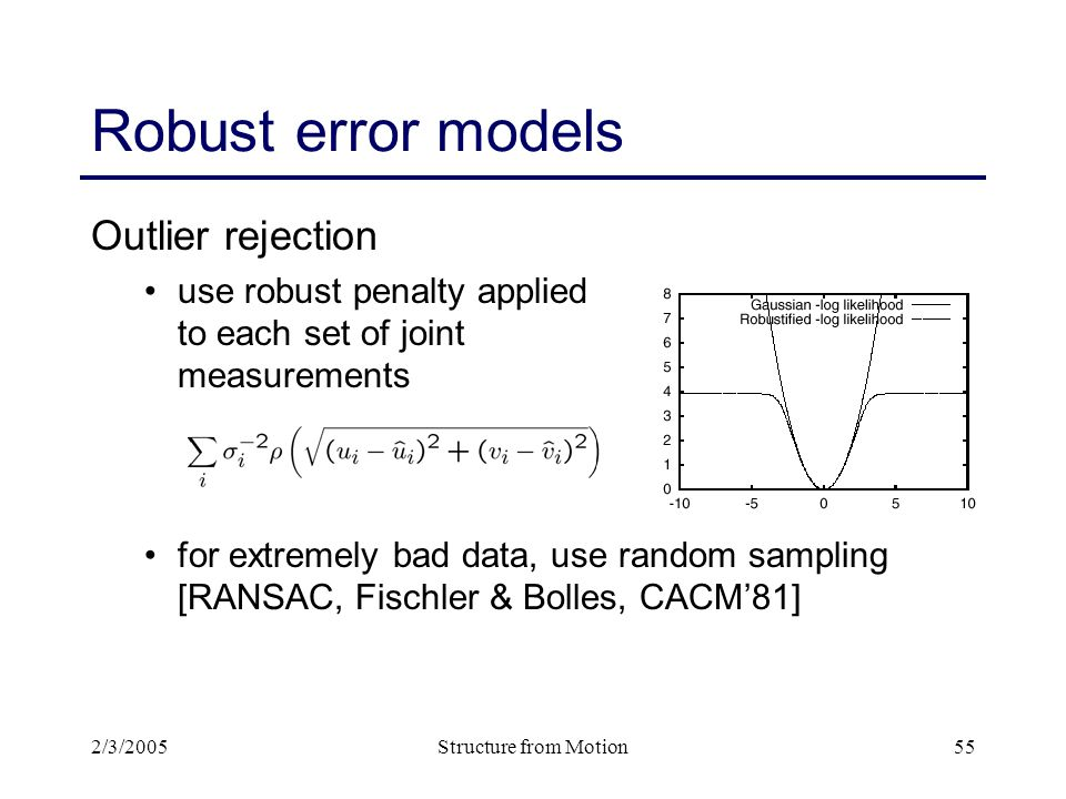 2/3/2005Structure from Motion55 Robust error models Outlier rejection use robust penalty applied to each set of joint measurements for extremely bad data, use random sampling [RANSAC, Fischler & Bolles, CACM'81]