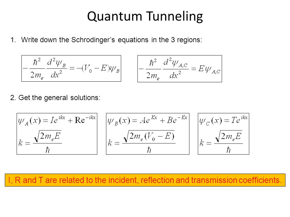Quantum Tunneling 1.Write down the Schrodinger's equations in the 3 regions: 2. Get the general solutions: I, R and T are related to the incident, ref