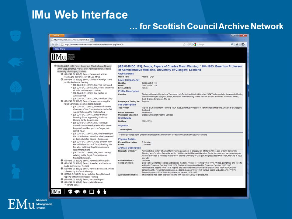 IMu Web Interface … for Scottish Council Archive Network