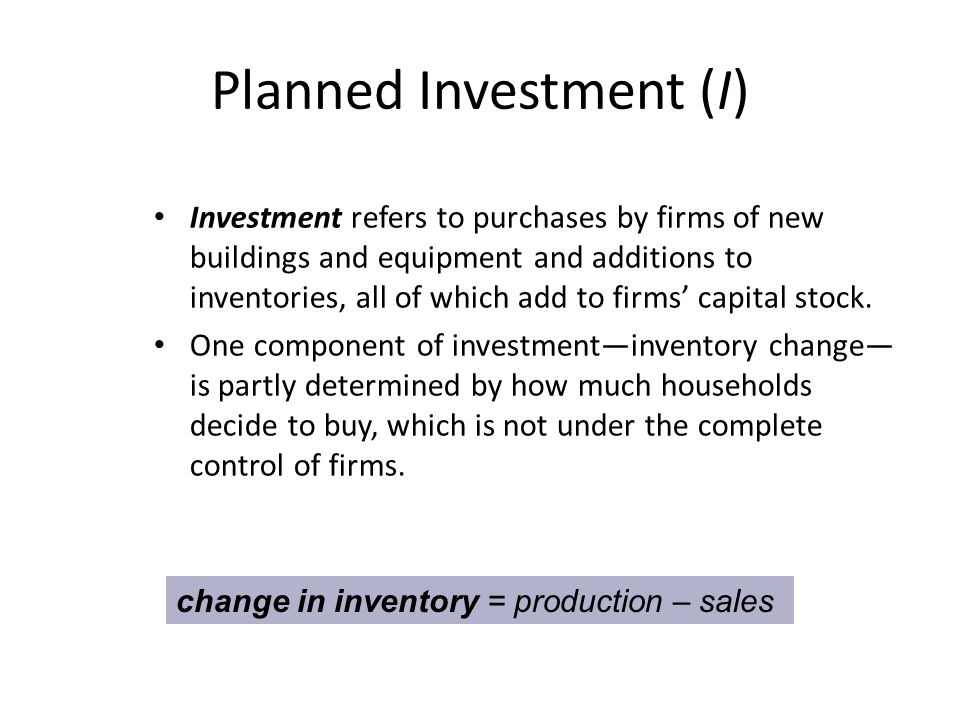 Planned Investment (I) Investment refers to purchases by firms of new buildings and equipment and additions to inventories, all of which add to firms' capital stock.