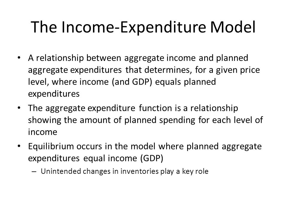 The Income-Expenditure Model A relationship between aggregate income and planned aggregate expenditures that determines, for a given price level, where income (and GDP) equals planned expenditures The aggregate expenditure function is a relationship showing the amount of planned spending for each level of income Equilibrium occurs in the model where planned aggregate expenditures equal income (GDP) – Unintended changes in inventories play a key role