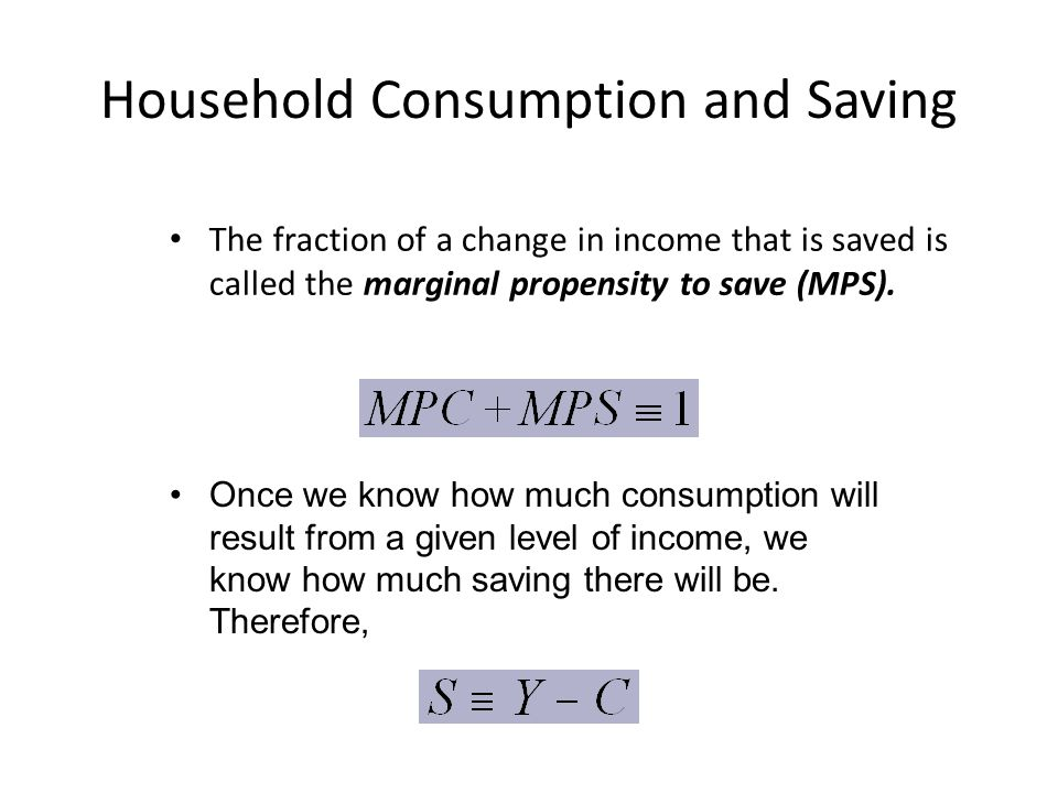 Household Consumption and Saving The fraction of a change in income that is saved is called the marginal propensity to save (MPS).