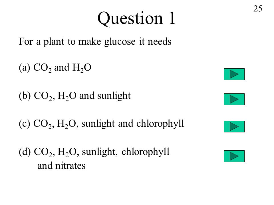 Question 1 For a plant to make glucose it needs (a) CO 2 and H 2 O (b) CO 2, H 2 O and sunlight (c) CO 2, H 2 O, sunlight and chlorophyll (d) CO 2, H