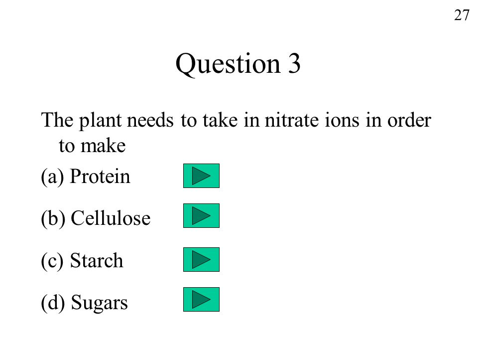 Question 3 The plant needs to take in nitrate ions in order to make (a) Protein (b) Cellulose (c) Starch (d) Sugars 27