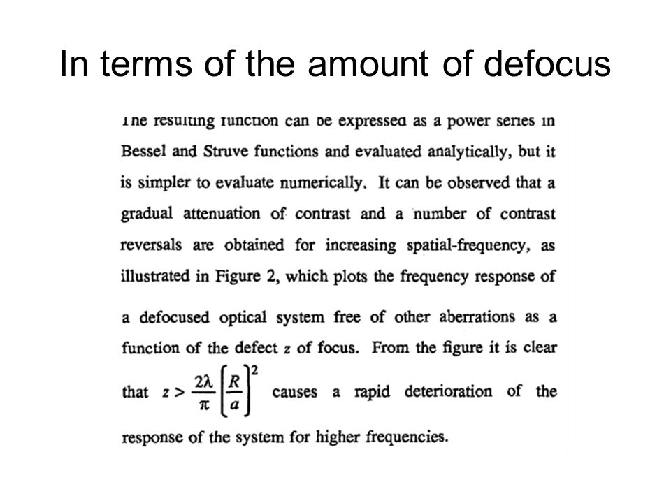 In terms of the amount of defocus