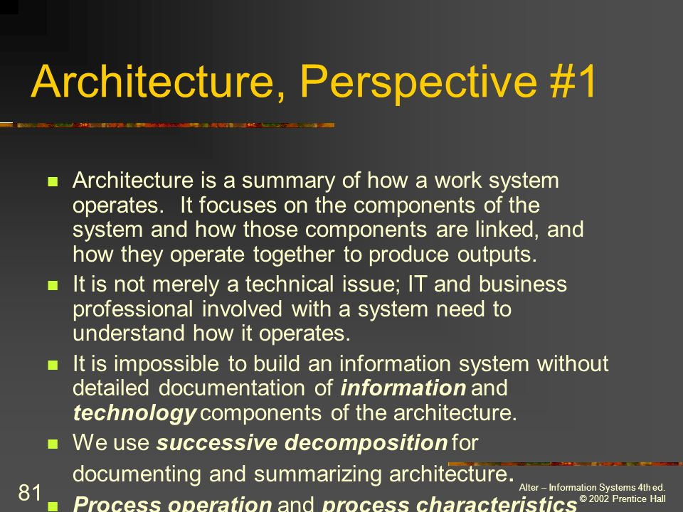 Alter – Information Systems 4th ed. © 2002 Prentice Hall 82 Architecture, Perspective #1