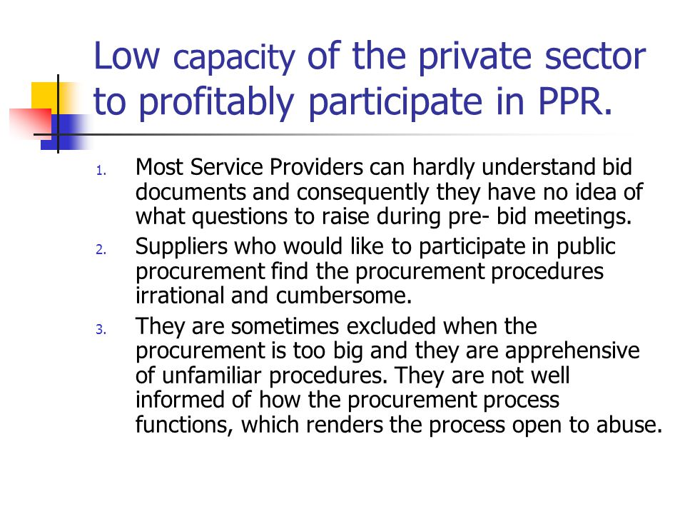Low capacity of the private sector to profitably participate in PPR.