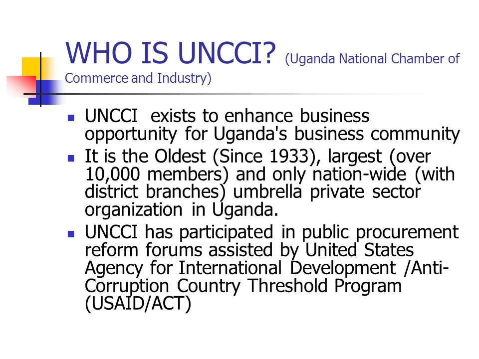 WHO IS UNCCI.