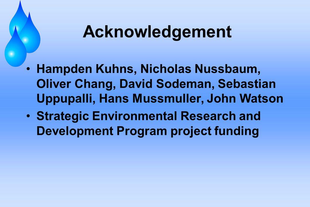 Acknowledgement Hampden Kuhns, Nicholas Nussbaum, Oliver Chang, David Sodeman, Sebastian Uppupalli, Hans Mussmuller, John Watson Strategic Environmental Research and Development Program project funding