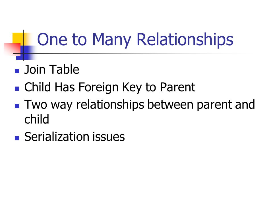 One to Many Relationships Join Table Child Has Foreign Key to Parent Two way relationships between parent and child Serialization issues