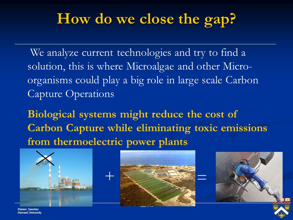 Ramon Sanchez Harvard University Slide # 16 We analyze current technologies and try to find a solution, this is where Microalgae and other Micro- orga