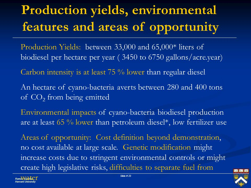 Ramon Sanchez Harvard University Slide # 23 Production yields, environmental features and areas of opportunity Production Yields: between 33,000 and 6