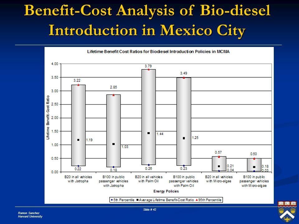 Ramon Sanchez Harvard University Slide # 42 Benefit-Cost Analysis of Bio-diesel Introduction in Mexico City