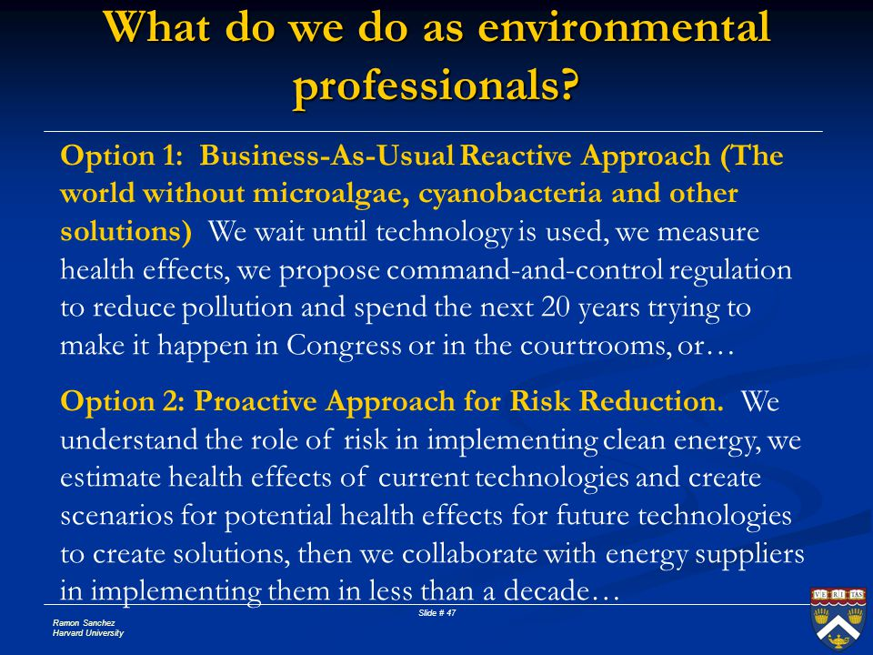 Ramon Sanchez Harvard University Slide # 47 What do we do as environmental professionals? Option 1: Business-As-Usual Reactive Approach (The world wit