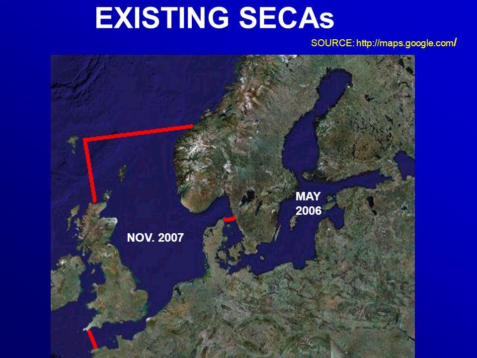 EXISTING SECAs NOV. 2007 MAY 2006 SOURCE: http://maps.google.com /