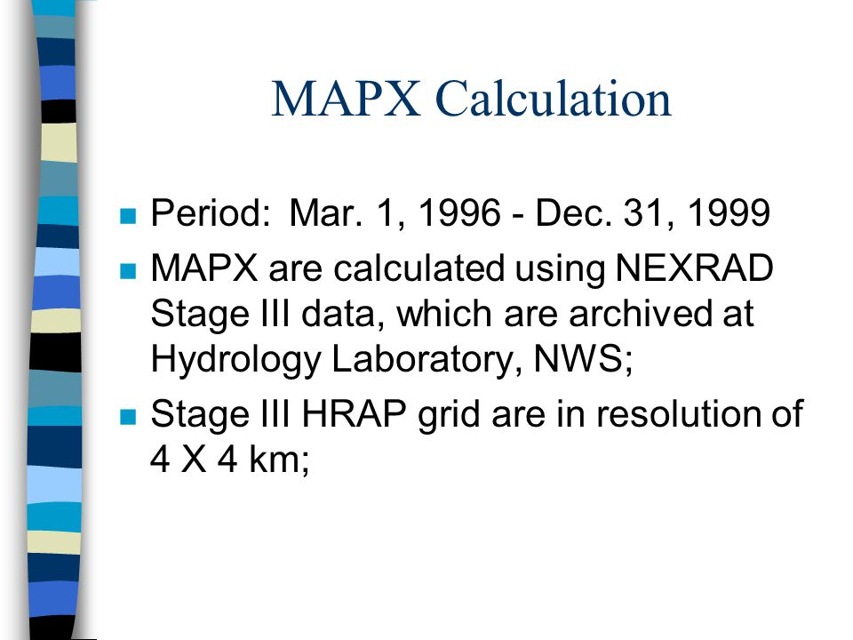 Caption:Pink -- MAPX time series; Yellow -- Corrected MAPX time series; White -- MAP time series.