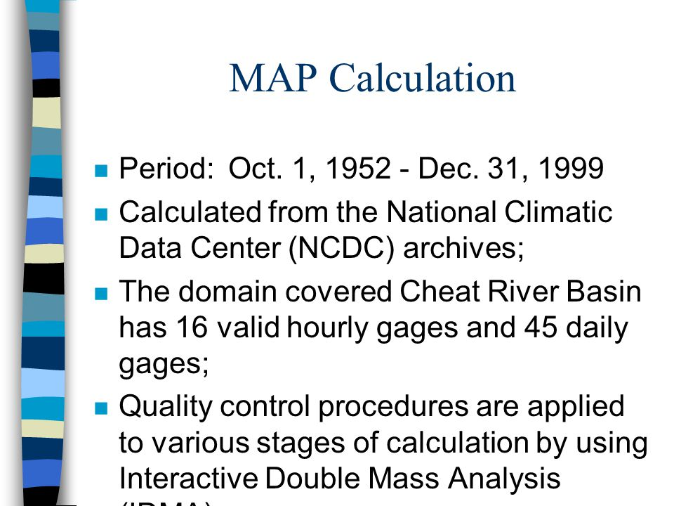MAP Calculation n Period:Oct. 1, 1952 - Dec.