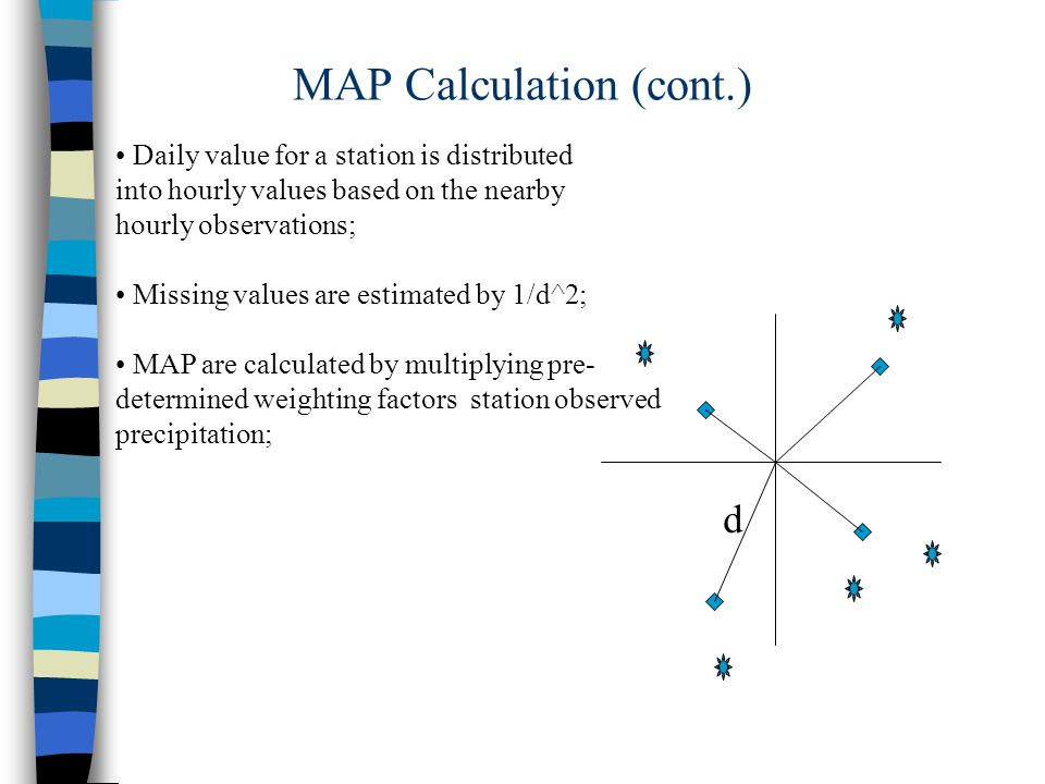 MAP Calculation (cont.) d Daily value for a station is distributed into hourly values based on the nearby hourly observations; Missing values are estimated by 1/d^2; MAP are calculated by multiplying pre- determined weighting factors station observed precipitation;
