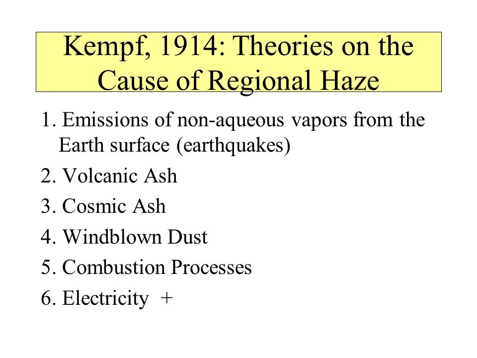 Kempf, 1914: Theories on the Cause of Regional Haze 1.