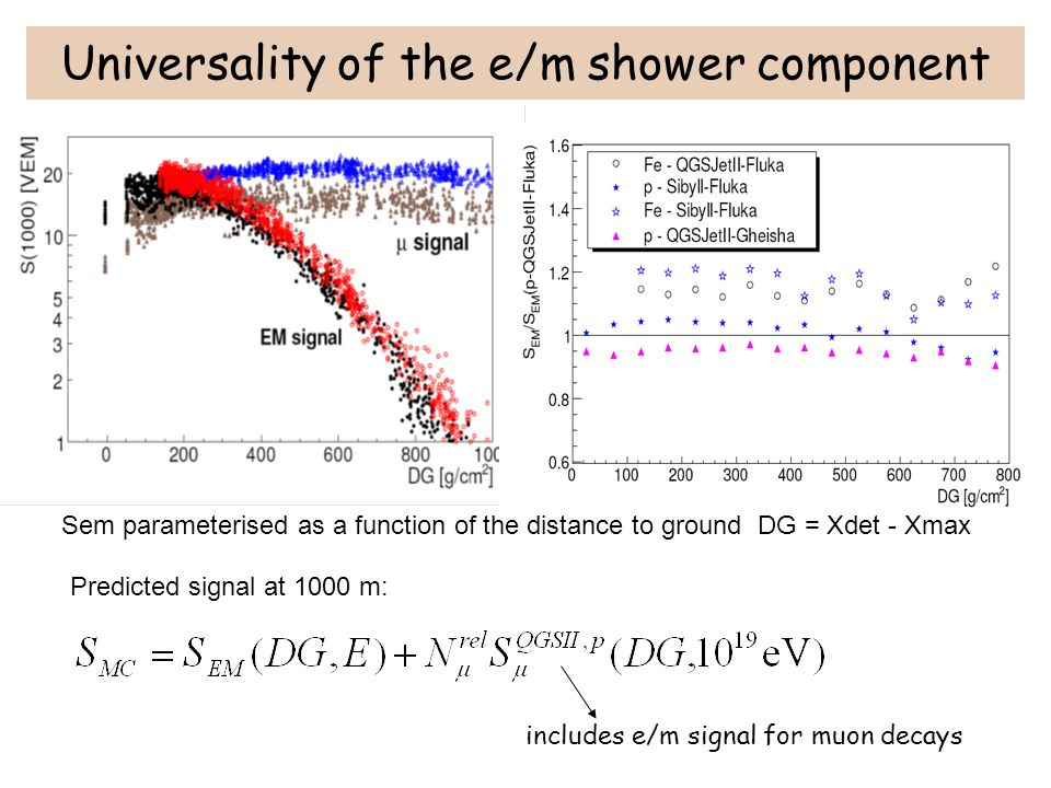 Universality of the e/m shower component Sem parameterised as a function of the distance to ground DG = Xdet - Xmax Predicted signal at 1000 m: includ