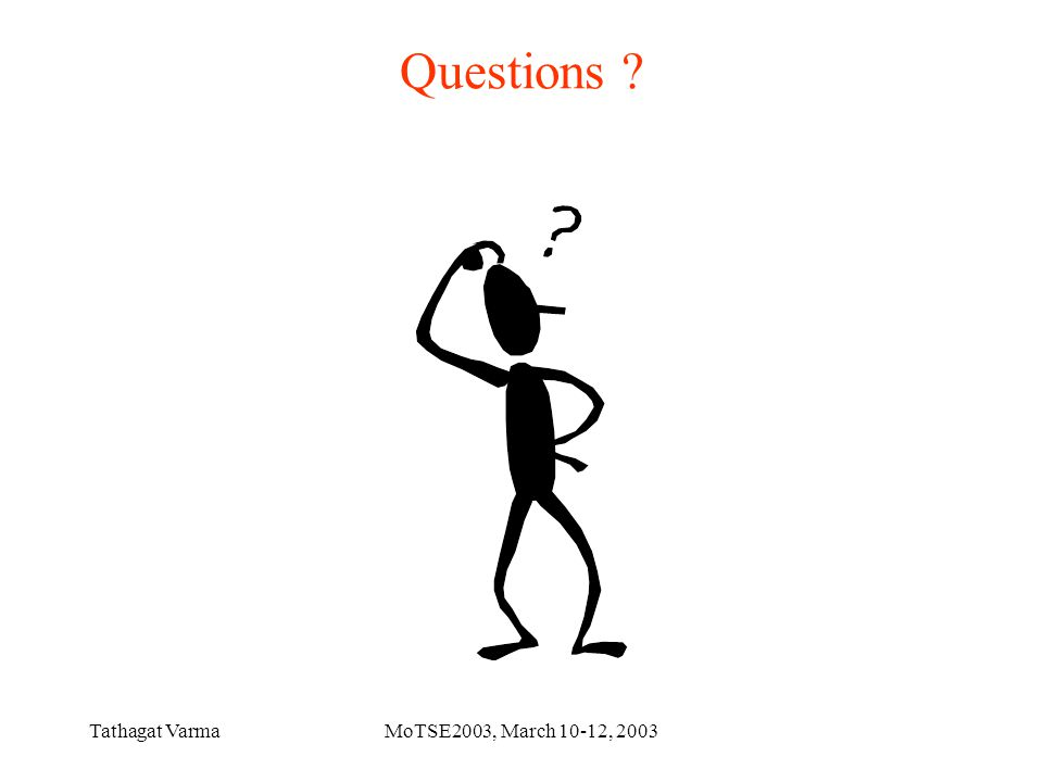 Tathagat VarmaMoTSE2003, March 10-12, 2003 Questions ?