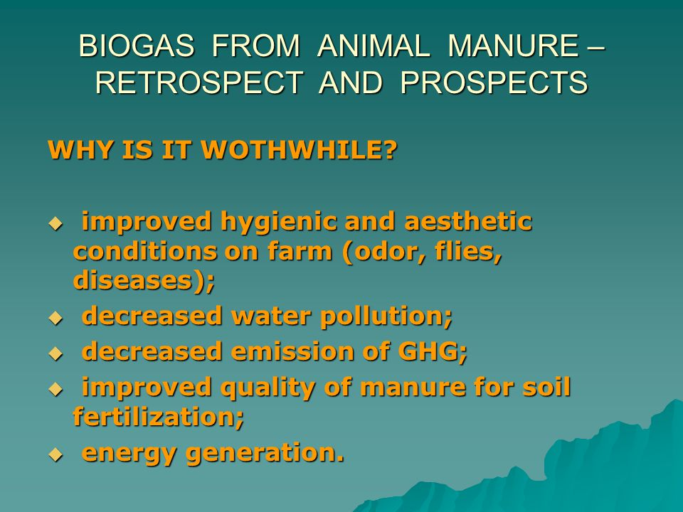BIOGAS FROM ANIMAL MANURE – RETROSPECT AND PROSPECTS WHY IS IT WOTHWHILE?  improved hygienic and aesthetic conditions on farm (odor, flies, diseases)